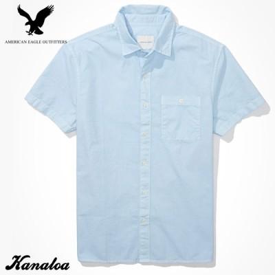 アメリカンイーグル オックスフォードシャツ 半袖 メンズ 無地 カジュアルシャツ ブルー 大きいサイズあり