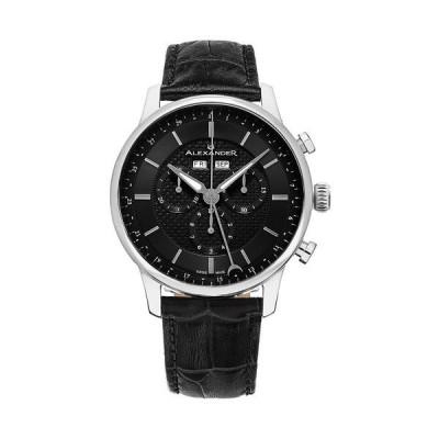 スターリング 腕時計 アクセサリー レディース Alexander Watch A101-02, Stainless Steel Case on Black Embossed Genuine Leather Strap Black