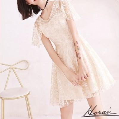 韓国 パーティードレス 袖あり ショート丈 レース ワンピース ワンピドレス 結婚式 二次会 秋冬 お呼ばれ 20代 30代 40代