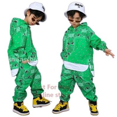 キッズ ダンス 衣装 ヒップ ホップ 服 子供 キッズ ダンス パーカー ダンス 衣装 ヒップホップ キッズダンス衣装 男の子 長ズボン 緑 ステージ衣装 おしゃれ