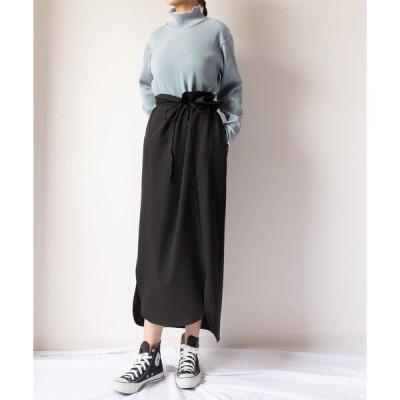 スカート ねじりラップデザインロングスカート