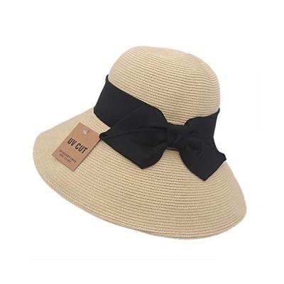 S&C Live 麦わら帽子 レディース 折り畳み uvカット 軽量 サイズ調整可 紫外線対策つば広 大きいリボン 小顔効果