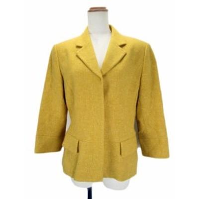 【中古】ジョルジュレッシュ GEORGES RECH ジャケット テーラード 七分袖 ウール シルク 40 黄 レディース