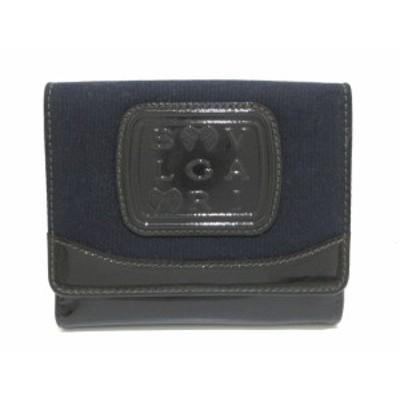 ブルガリ BVLGARI Wホック財布 レディース 美品 - 26590 黒×ダークグリーン 日本限定 キャンバス×エナメル(レザー)【中古】20200910