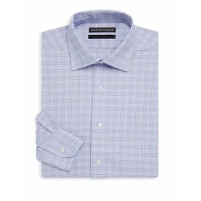 サックスフィフスアベニュー メンズ ドレスシャツ ワイシャツ Checkered Cotton Dress Shirt