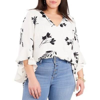 ヴィンスカムート レディース シャツ トップス Plus Size Flutter Sleeve Floral Print Tunic New Ivory