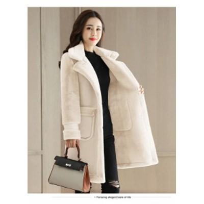 コート フェイクムートン アウター ホワイト キャメル 暖かい 大人可愛い 長袖