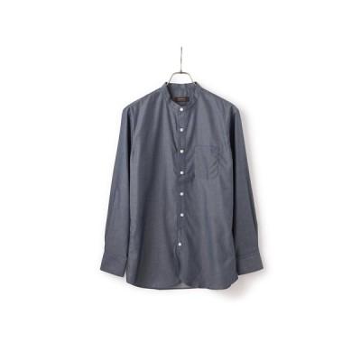オールシーズン用 ネイビー系 ツイルバンドカラーシャツ CHRISTIAN ORANI BROWN LABEL