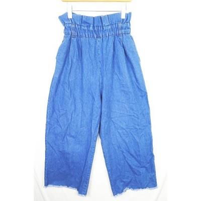 【中古】メルロー merlot デニム ワイドパンツ 裾切りっぱなし M ブルー 2sa0786 レディース 【ベクトル 古着】