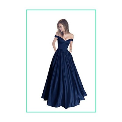 Harsuccting Off The Shoulder Beaded Satin Evening Prom Dress with Pocket Corset Without Belt Navy 10並行輸入品