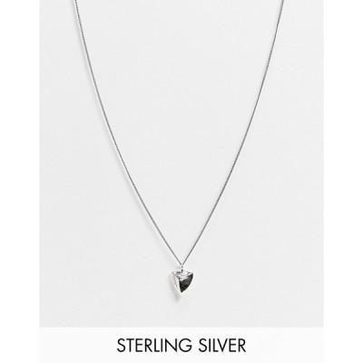 エイソス メンズ ネックレス・チョーカー アクセサリー ASOS DESIGN sterling silver skinny neckchain with tooth pendant in burnished silver Silver