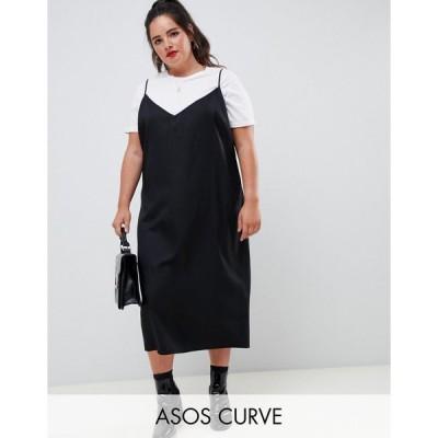 エイソス ドレス 大きいサイズ レディース ASOS DESIGN Curve cami midi slip dress エイソス ASOS