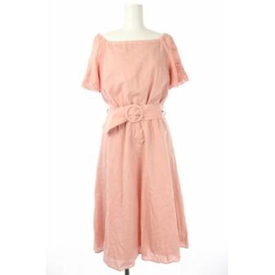 【中古】アプワイザーリッシェ 18SS カットワーク刺繍ワンピース ロング 半袖 フレア ベルト付き 1 ピンク