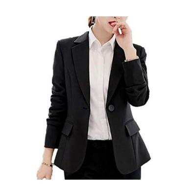 [ルナー ベリー] ジャケット テーラード 長袖 シングルボタン ビジネスコーデ ブレザー レディース 4406 (L ブラック 黒ボタン) オータム
