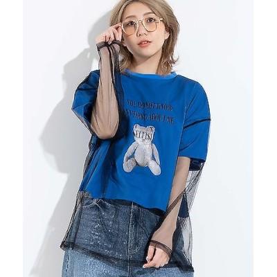 【WEGO公式】チュールドッキングプリントTシャツ 半袖  WE20SM04-L2363