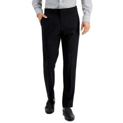 ペリーエリス カジュアルパンツ ボトムス メンズ Men's Slim-Fit Non-Iron Performance Stretch Heathered Dress Pants Black