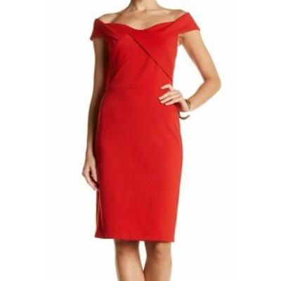 Eva by Eva Franco  ファッション ドレス Eva by Eva Franco NEW Red Womens Size 10 Off Shoulder Sheath Dress