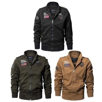 【送料無料!】全3色 6サイズ  メンズUSフラッグワッペンエアボーンパイロットジャケット アウター フライトジャケット MA-1 バイクに!