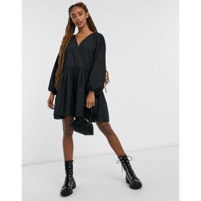 エイソス ミディドレス レディース ASOS DESIGN casual cotton poplin wrap front mini smock dress in black エイソス ASOS ブラック 黒