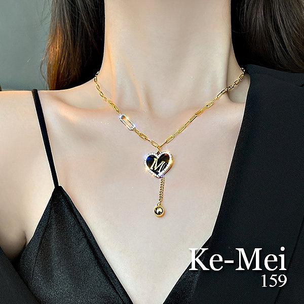 克妹Ke-Mei【AT67258】歐美復古奢華愛心鑽垂墜乳溝頸鍊(二款)