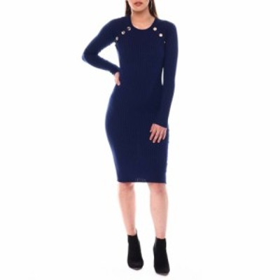 ファッションラボ Fashion Lab レディース ワンピース ミドル丈 ワンピース・ドレス long sleeve ribbed midi dress botton detail Navy