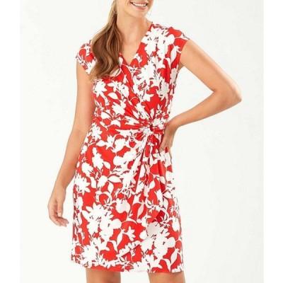 トッミーバハマ レディース ワンピース トップス Clara Sunset Vista Floral Print V-Neck Cap Sleeve Faux Wrap Dress