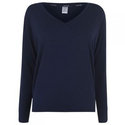 カルバンクライン Calvin Klein レディース 長袖Tシャツ Vネック トップス Calvin Long Sleeve V Neck T Shirt SHORELINE