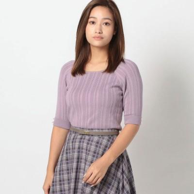 ミッシュマッシュ MISCH MASCH ランダムリブ5分袖ニット (紫系)