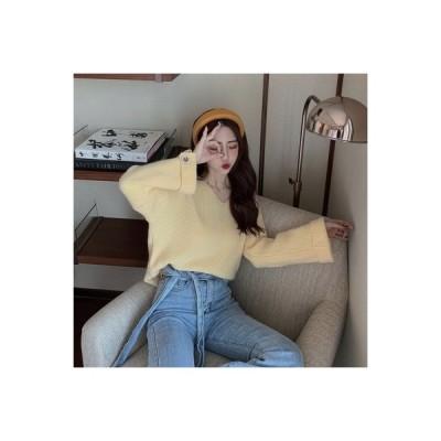 【送料無料】秋冬 韓国風 襟 長袖 プルオーバー ニット レディース 何でも似合う | 364331_A64437-0867742
