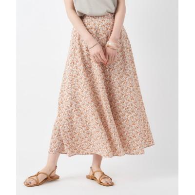 【鮮度が上がるプリント柄】フラワ−プリントフレアロングスカート