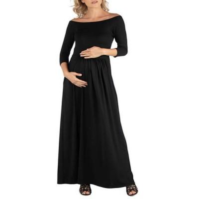24セブンコンフォート レディース ワンピース トップス Maternity Off Shoulder Pleated Waist Maxi Dress
