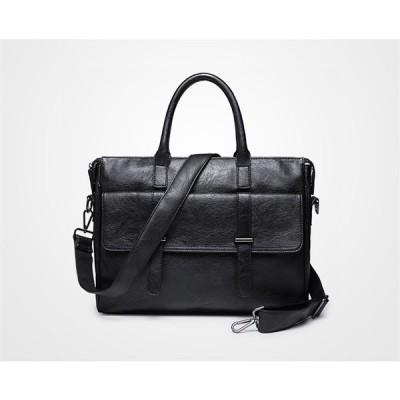ビジネスバッグ  革バッグ  メンズ ショルダーバッグ メンズバッグ PC カバン斜め掛け  通勤  紳士鞄 ブラック 2ways