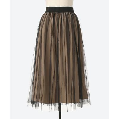 <Tasharuby/ターシャルビー> 大きいサイズ リバーシブルチュールスカート(33014)(クローバー) ブラック/BEI【三越伊勢丹/公式】