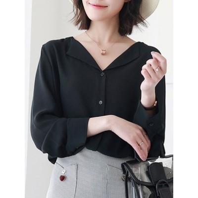 【送料無料】vネック シンプル カジュアル 韓国風 合わせやすい 6色 トップス シャツ