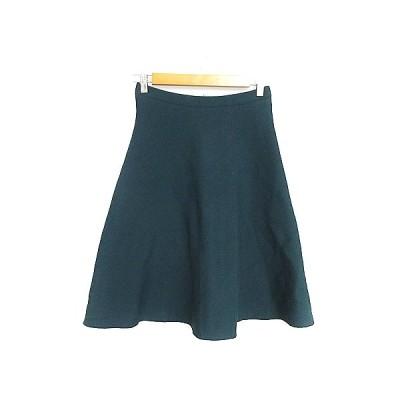 【中古】インディヴィ INDIVI スカート フレア ひざ丈 ニット 38 緑 グリーン /AAM31 レディース 【ベクトル 古着】