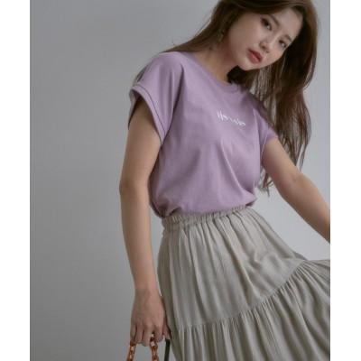 ビス/【vis-`a-vis】フレンチスリーブロゴTシャツ/ピンク/F