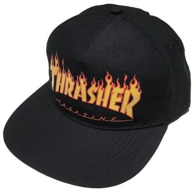 THRASHER FLAME スナップバックキャップ  - スラッシャー -G- 帽子 炎ロゴマーク ファイヤースケートブランド スケーター ブラック
