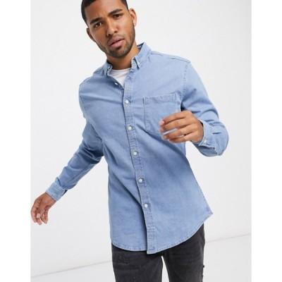 エイソス メンズ シャツ トップス ASOS DESIGN stretch slim organic denim shirt in bleach wash