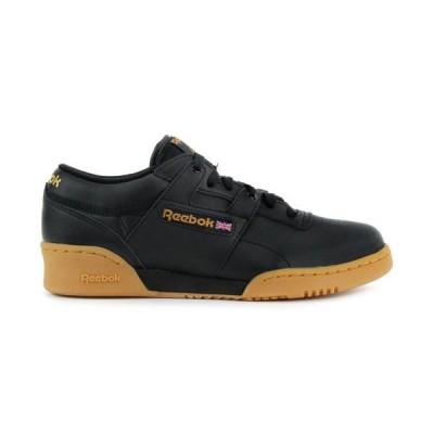 運動靴 リーボック Reebok Men's Classic Leather Workout Low Black/Gum Shoes 67107 NEW!