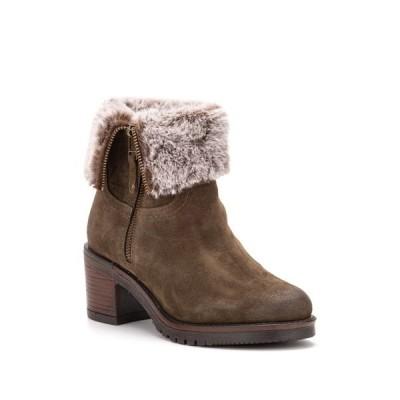 ビンテージファンドリー レディース ブーツ&レインブーツ シューズ Jeanette Faux Fur Lined Leather Bootie OLIVE