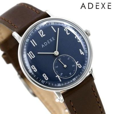 アデクス ADEXE メンズ レディース 腕時計 33mm ダークブルー×ブラウン 革ベルト 2043C-T01 プチ