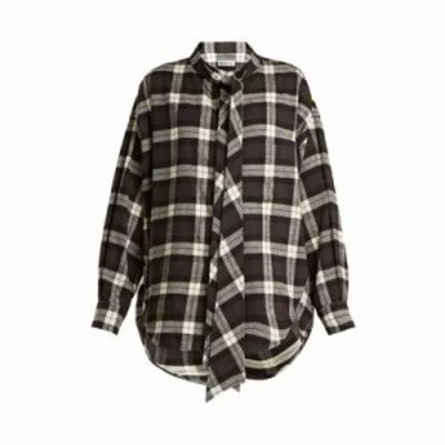 バレンシアガ ブラウス・シャツ New Swing checked cotton-flannel shirt Black
