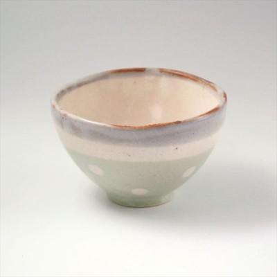 美濃焼 伸光窯 ふわふわドット ご飯茶碗(大) ねずみ志野×グリーン化粧  美濃焼 陶器 食器 日本製