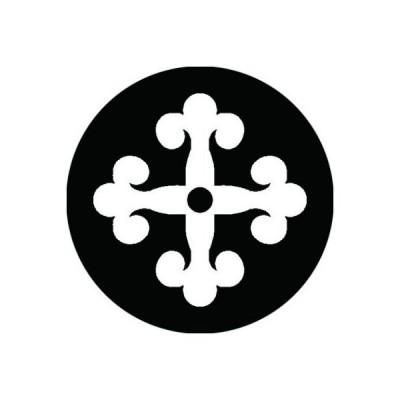 家紋シール 白紋黒地 花クルス 布タイプ 直径23mm 6枚セット NS23-0283W