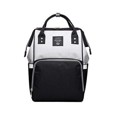QIXINGHUMulti-Function Diaper Bag for Baby Care Wide Open Nappy Bags Large Capacity Handbags Travel Backpack Waterproof Lightweight Black/Gr