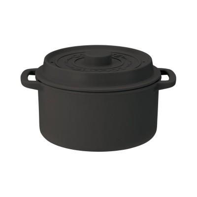 そのままテーブルへ!ココット型電子レンジ用鍋 680ml ブラック フェリシモ FELISSIMO