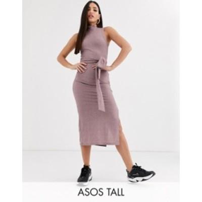 エイソス レディース ワンピース トップス ASOS DESIGN Tall sleeveless rib marl midi dress with open back in pink black Pink black