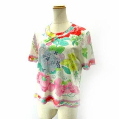 【中古】レオナール LEONARD カットソー Tシャツ 半袖 花柄プリント パステル ピンク グリーン L IBS91 レディース