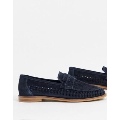 【残り1点!】【サイズ:UK7】モス ブラザーズ MOSS BROS メンズ シューズ・靴 ローファー Moss London woven suede loafer in blue