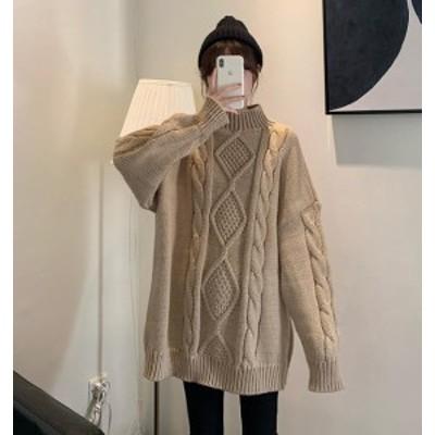 韓国 ファッション レディース ニット セーター トップス ケーブル編み ボトルネック ローゲージ 長袖 ゆったり カジュアル 秋冬